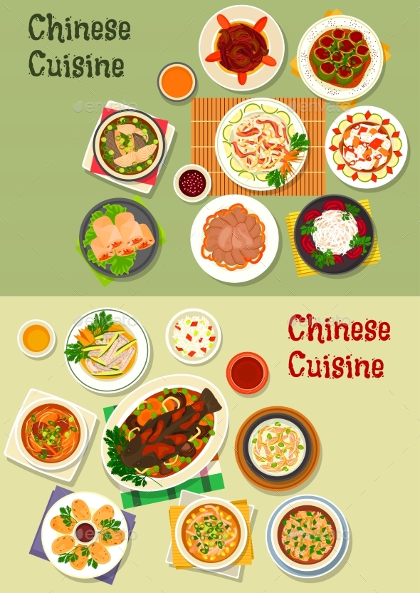 Chinese Cuisine Icon for Oriental Menu Design - Food Objects