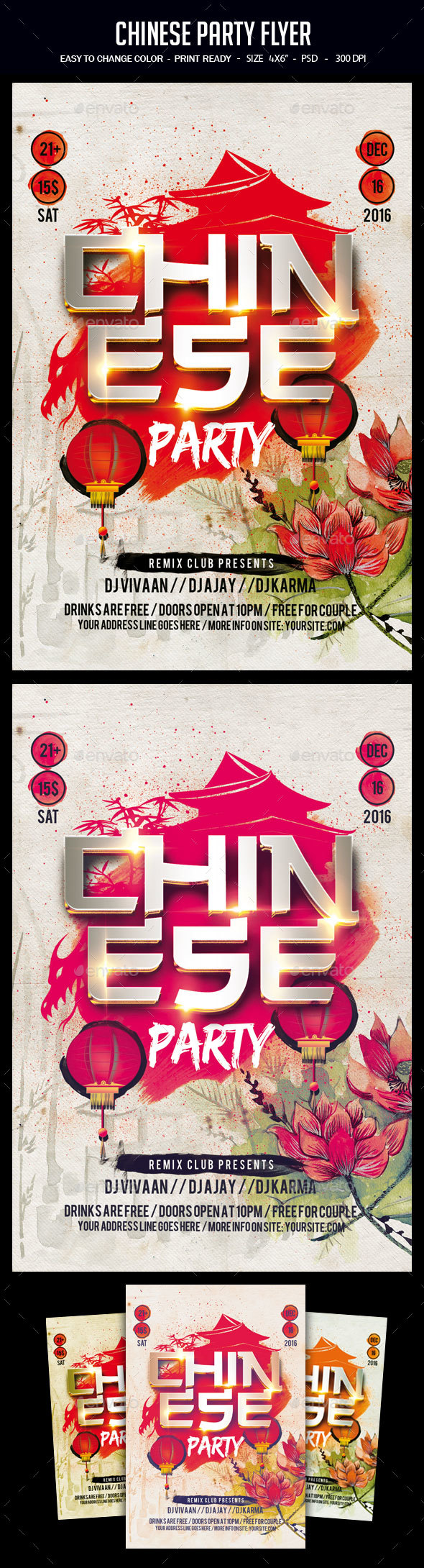 Chinese Party Flyer - Clubs & Parties Events