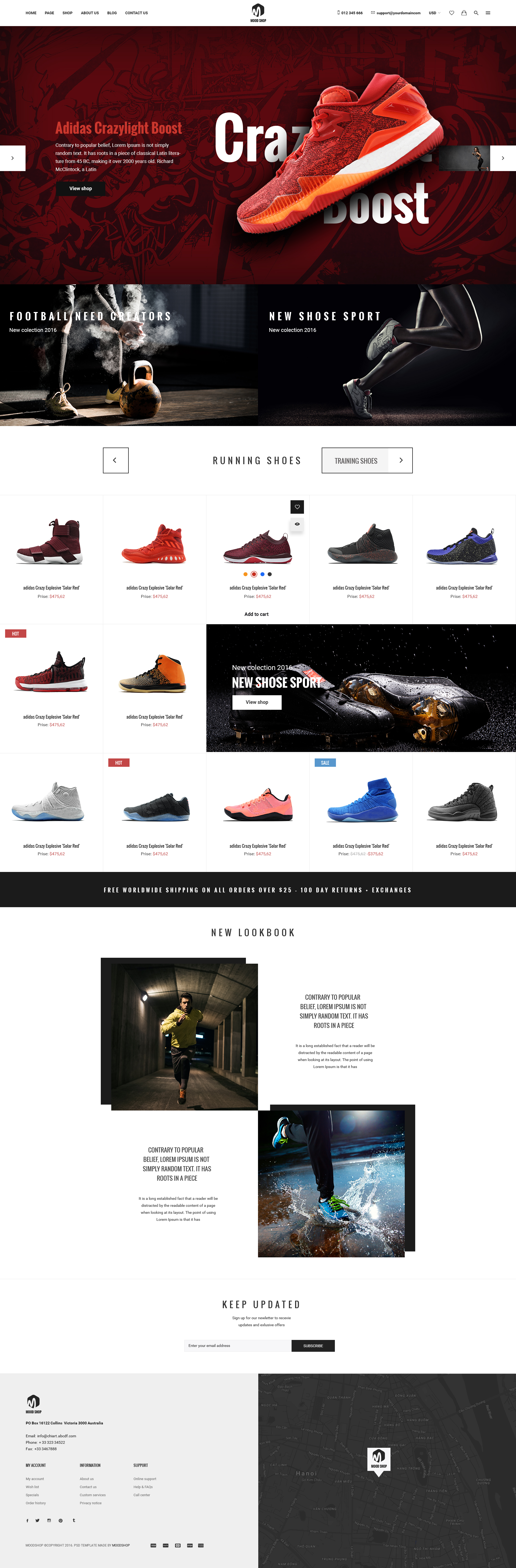 MoodShop Modern ECommerce PSD Template For Selling Footwear Online - Template for selling home