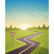 Asphalt Road Over Field - GraphicRiver Item for Sale
