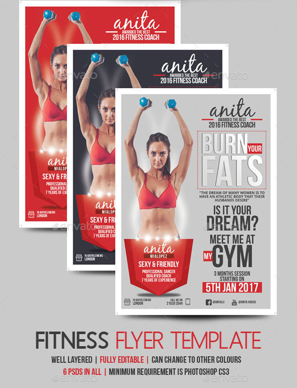 Fitness Coach Flyer Template By Blogankids  Graphicriver
