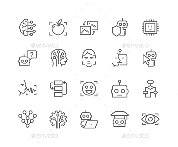 Line Artificial Intelligence Icons - Icons
