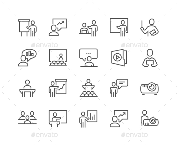 Line Business Presentation Icons - Icons