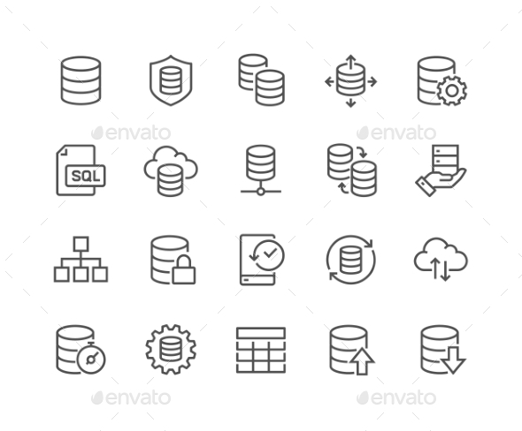 Line Database Icons - Icons