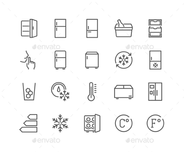 Line Fridge Icons - Icons