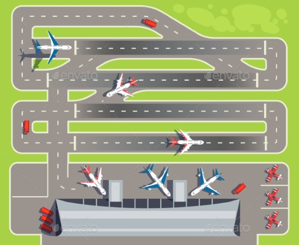 Airport with Passenger Terminal, Airplanes - Miscellaneous Vectors