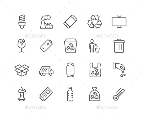Line Garbage Icons - Icons