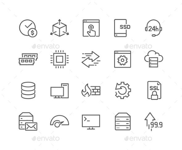 Line Hosting Icons - Icons