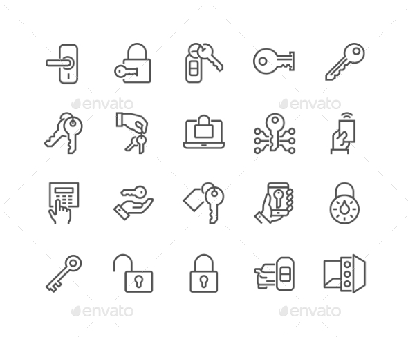 Line Keys and Locks Icons - Icons