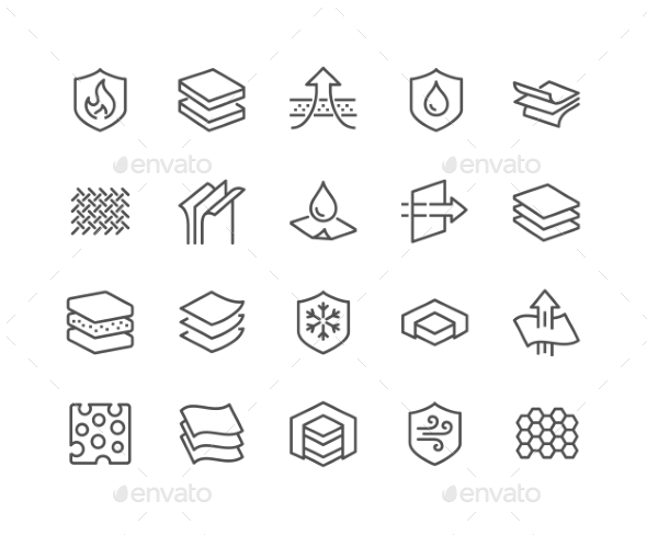 Line Layered Material Icons - Icons