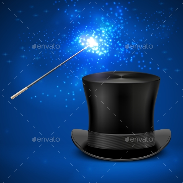 Magic Wand and Vintage Top Hat Vector - Objects Vectors