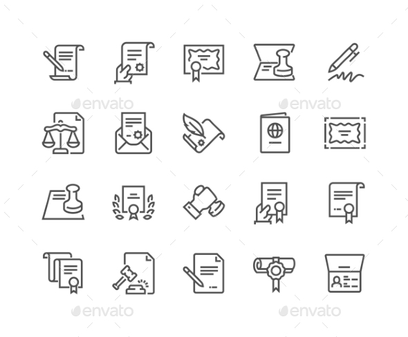 Line Legal Documents Icons - Icons