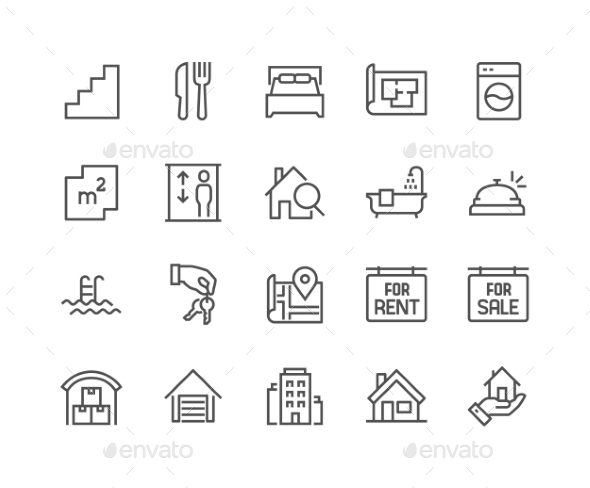 Line Real Estate Icons - Icons