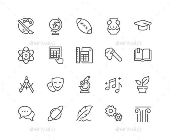 Line School Subjects Icons - Icons