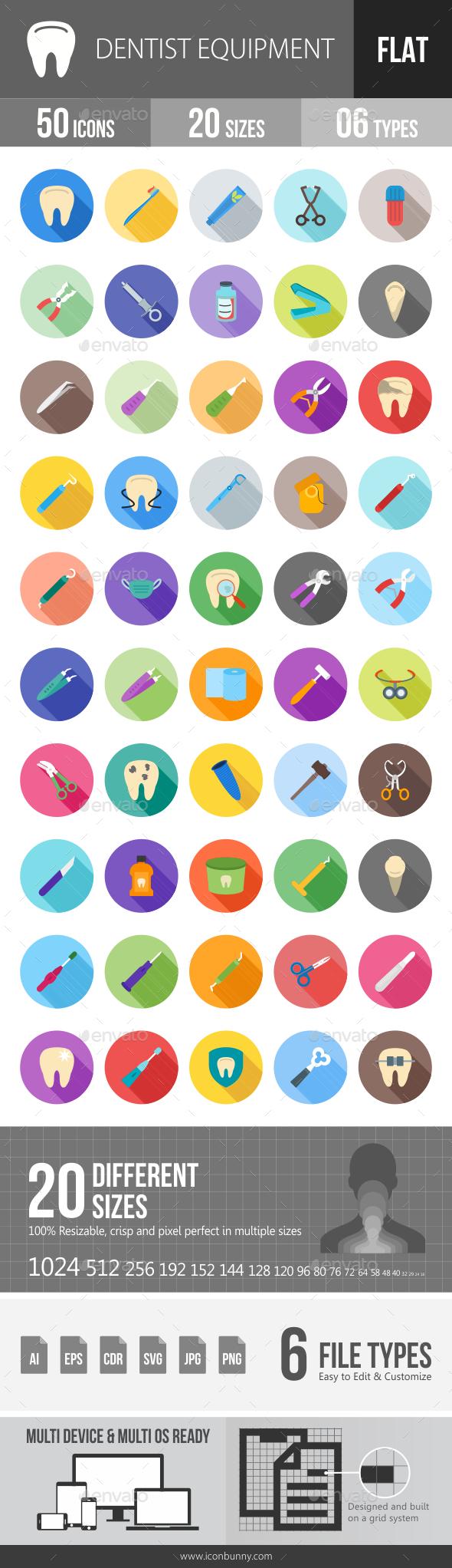 Dentist Equipment Flat Shadowed Icons - Icons
