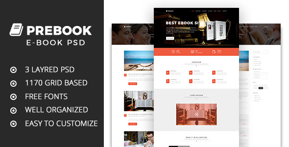 Prebook – One Page eBook Landing PSD Template