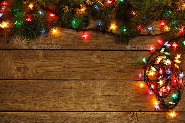Christmas Lights Background.Christmas Lights Border On Wood Background