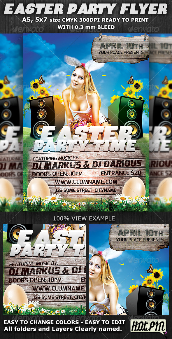 Easter Party Flyer Template v2 - Clubs & Parties Events