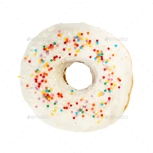 Donut with white icing and colorful decoration - Stock Photo - Images