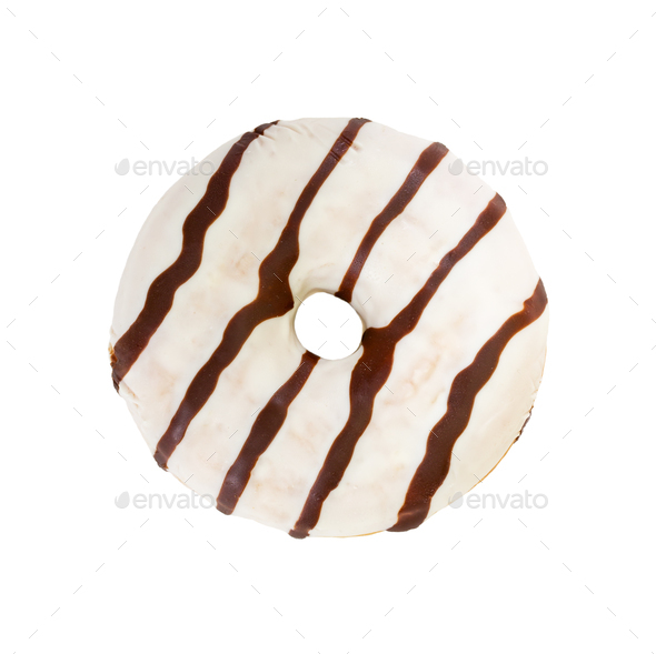 Chocolate donut isolated on white background. - Stock Photo - Images