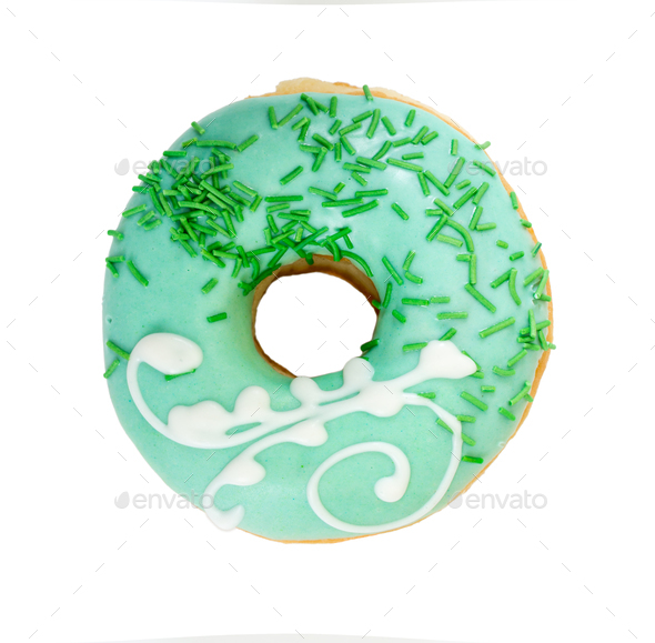 Tasty donut with decorated sprinkles. Top view. - Stock Photo - Images