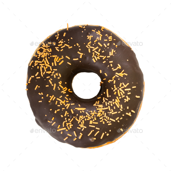 Chocolate donut with decorated sprinkles. Top view. - Stock Photo - Images