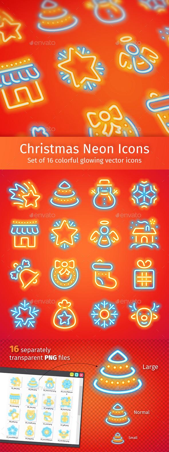 Christmas Neon Icons - Seasonal Icons