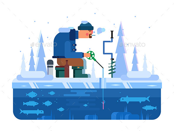 Man on Winter Fishing - Seasons Nature