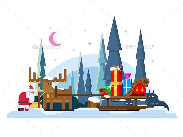Christmas Sleigh Full of Gifts - Christmas Seasons/Holidays