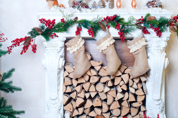 Beautiful fireplace decorated for Christmas - Stock Photo - Images