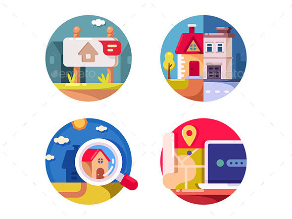 Real Estate Market - Web Elements Vectors