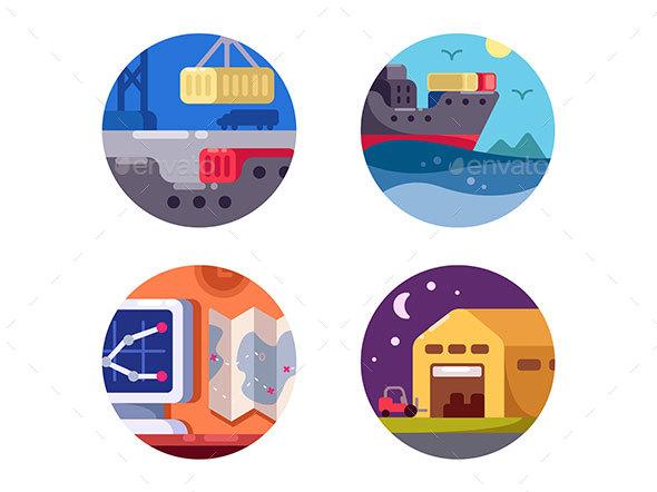 Maritime Logistics and Transportation - Web Elements Vectors