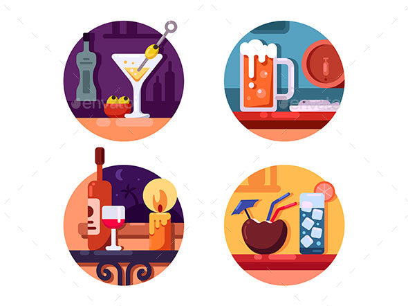 Set of Alcoholic Beverages - Web Elements Vectors