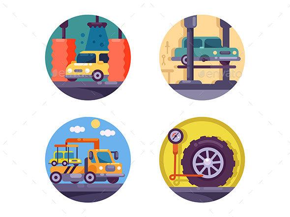 Car Service Garage - Web Elements Vectors