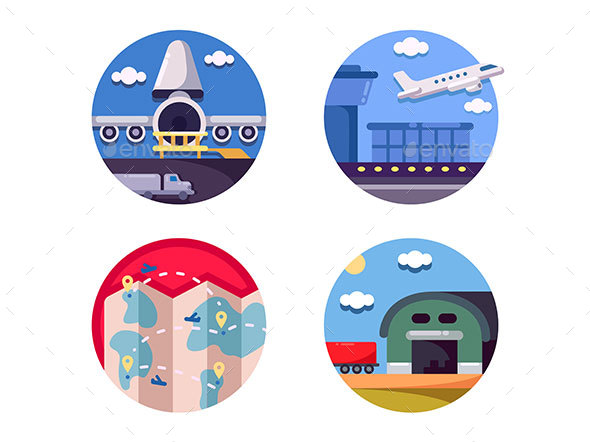 Air Logistics and Freight Transport - Web Elements Vectors