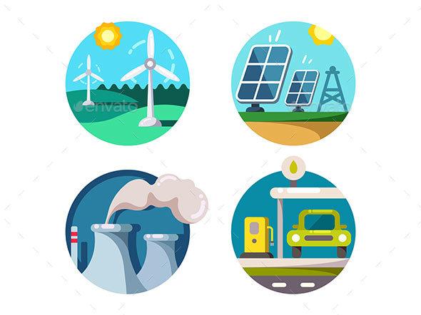 Energy Saving Technologies - Web Elements Vectors