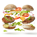 burger with flying ingredients - PhotoDune Item for Sale