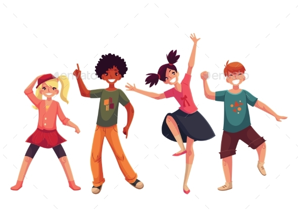 Little Kids Dancing Expressively, Cartoon Style - People Characters