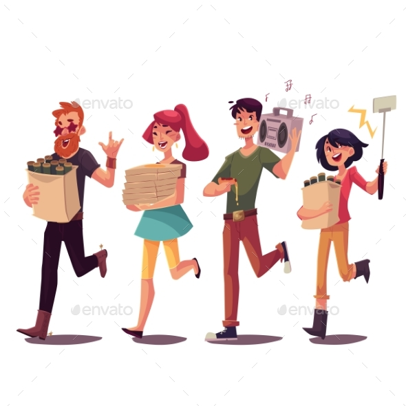 Friends Hurrying to Party - People Characters
