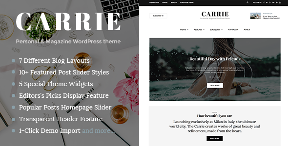 Carrie – Personal & Magazine WordPress Responsive Clean Blog Theme