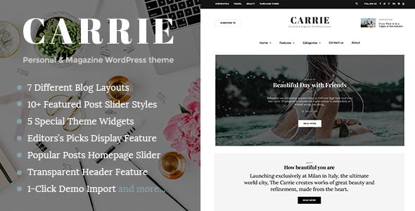 Carrie – Personal & Magazine WordPress Responsive Clean Blog Theme