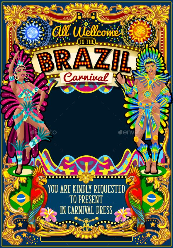 Rio Carnival Poster Theme Brazil Carnaval Mask Show Parade - Miscellaneous Seasons/Holidays
