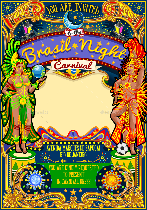 Rio Carnival Poster Template Brazil Carnaval Mask Show Parade - Seasons/Holidays Conceptual