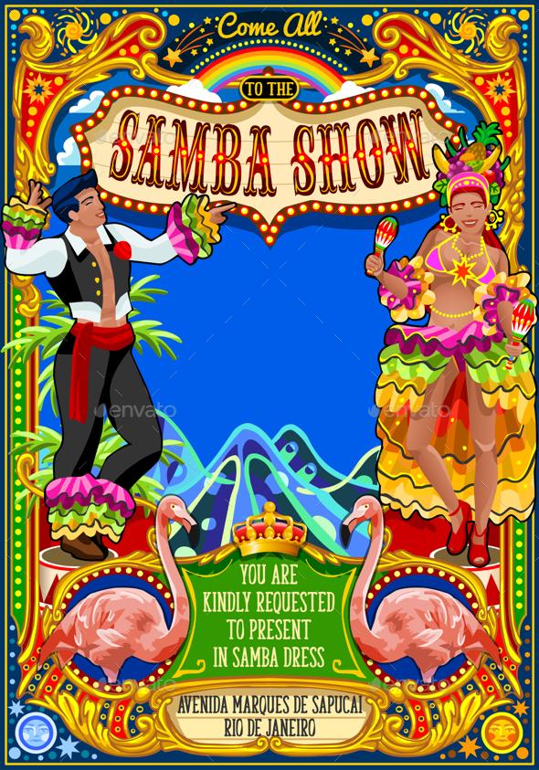 Rio Carnival Poster Invite Brazil Carnaval Mask Show Parade - Seasons/Holidays Conceptual