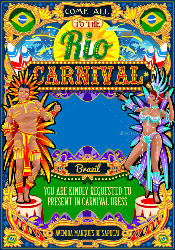 Rio Carnival Poster Frame Brazil Carnaval Mask Show Parade - Miscellaneous Seasons/Holidays
