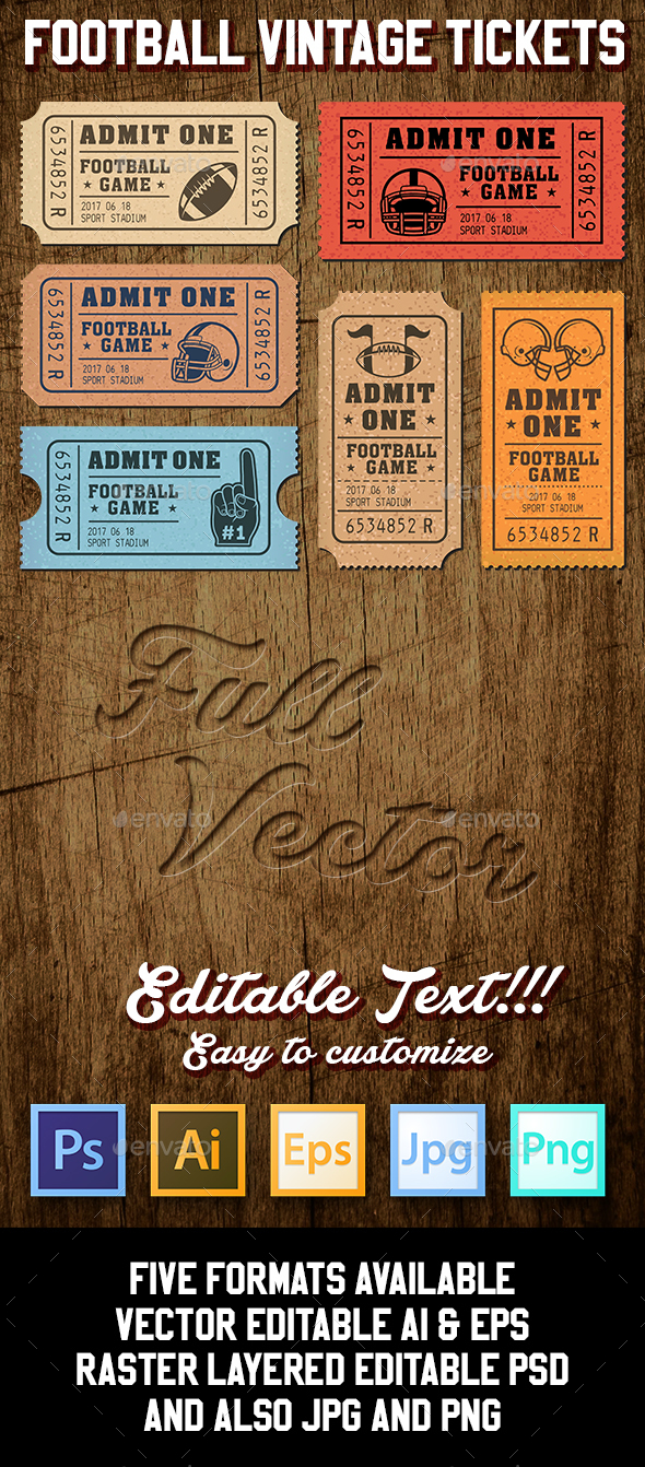 Vector Editable Football Tickets - Vectors