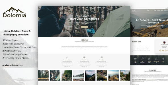 Dolomia - Hiking, Outdoor, Mountain Guide HTML Template - Travel Retail