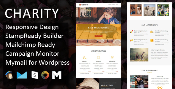 Charity - Responsive Email Template + Stampready Online Builder Access - Email Templates Marketing