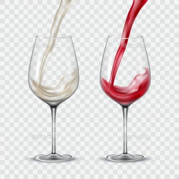 Set Transparent Glasses with White and Red Wine - Decorative Symbols Decorative