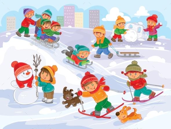 Vector Illustration of Little Children Playing - Christmas Seasons/Holidays